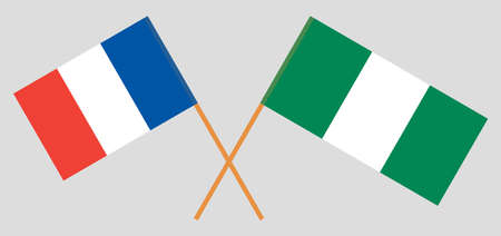 Crossed flags of Nigeria and France. Official colors. Correct proportion. Vector illustration 스톡 콘텐츠 - 151754545