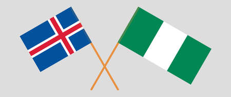 Crossed flags of Nigeria and Iceland. Official colors. Correct proportion. Vector illustration  イラスト・ベクター素材
