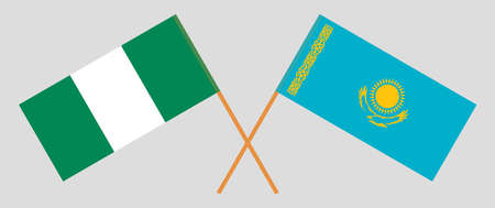 Crossed flags of Nigeria and Kazakhstan. Official colors. Correct proportion. Vector illustration