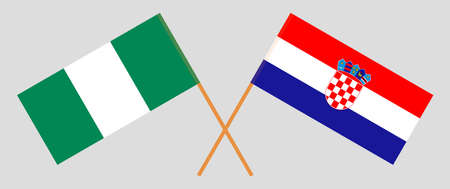 Crossed flags of Nigeria and Croatia. Official colors. Correct proportion. Vector illustration