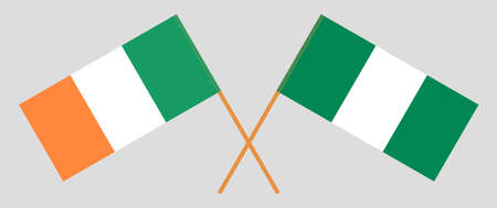 Crossed flags of Nigeria and Ireland. Official colors. Correct proportion. Vector illustration 스톡 콘텐츠 - 151754548