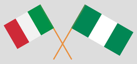 Crossed flags of Nigeria and Italy. Official colors. Correct proportion. Vector illustration