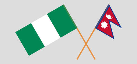 Crossed flags of Nigeria and Nepal. Official colors. Correct proportion. Vector illustration 向量圖像