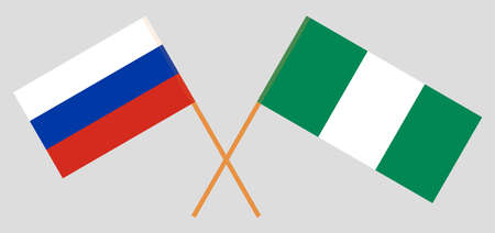 Crossed flags of Nigeria and Russia. Official colors. Correct proportion. Vector illustration