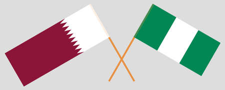 Crossed flags of Nigeria and Qatar. Official colors. Correct proportion. Vector illustration  イラスト・ベクター素材