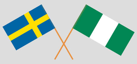 Crossed flags of Nigeria and Sweden. Official colors. Correct proportion. Vector illustration