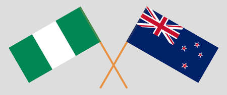 Crossed flags of Nigeria and New Zealand. Official colors. Correct proportion. Vector illustration