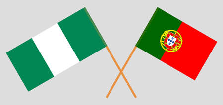 Crossed flags of Nigeria and Portugal. Official colors. Correct proportion. Vector illustration  イラスト・ベクター素材