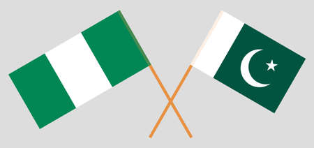 Crossed flags of Nigeria and Pakistan. Official colors. Correct proportion. Vector illustration  イラスト・ベクター素材