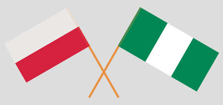 Crossed flags of Nigeria and Poland. Official colors. Correct proportion. Vector illustration  イラスト・ベクター素材