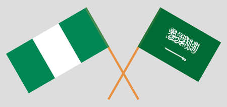 Crossed flags of Nigeria and Kingdom of Saudi Arabia. Official colors. Correct proportion. Vector illustration