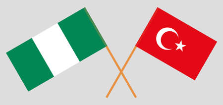 Crossed flags of Nigeria and Turkey. Official colors. Correct proportion. Vector illustration 스톡 콘텐츠 - 151754578