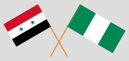 Crossed flags of Nigeria and Syria. Official colors. Correct proportion. Vector illustration