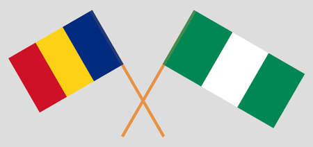 Crossed flags of Nigeria and Romania. Official colors. Correct proportion. Vector illustration 스톡 콘텐츠 - 151754580