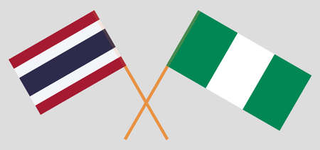 Crossed flags of Nigeria and Thailand. Official colors. Correct proportion. Vector illustration