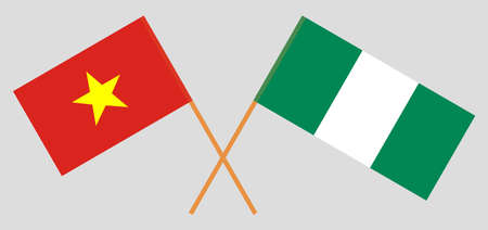 Crossed flags of Nigeria and Vietnam. Official colors. Correct proportion. Vector illustration