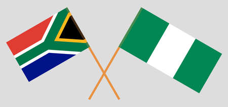 Crossed flags of Nigeria and the RSA. Official colors. Correct proportion. Vector illustration 스톡 콘텐츠 - 152204313