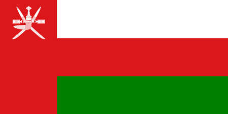 Oman flag. Official colors. Correct proportion.