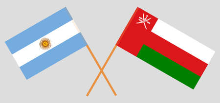 Crossed flags of Oman and Argentina. Official colors. Correct proportion. 스톡 콘텐츠 - 152386657