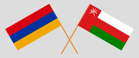 Crossed flags of Oman and Armenia. Official colors. Correct proportion.  イラスト・ベクター素材