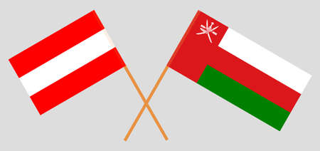 Crossed flags of Oman and Austria. Official colors. Correct proportion.  イラスト・ベクター素材