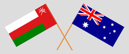 Crossed flags of Oman and Australia. Official colors. Correct proportion.