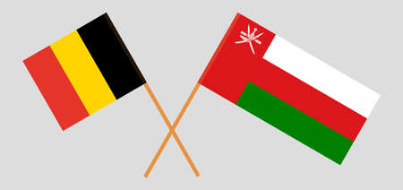 Crossed flags of Oman and Belgium. Official colors. Correct proportion.