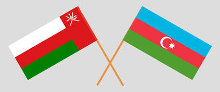 Crossed flags of Oman and Azerbaijan. Official colors. Correct proportion. 스톡 콘텐츠 - 152386396