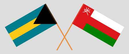 Crossed flags of Oman and Bahamas. Official colors. Correct proportion. 스톡 콘텐츠 - 152386398