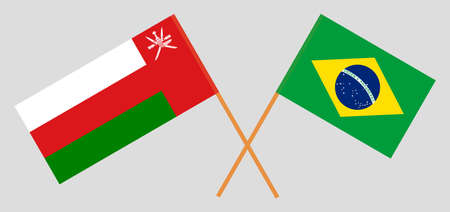 Crossed flags of Oman and Brazil. Official colors. Correct proportion.  イラスト・ベクター素材