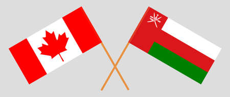 Crossed flags of Oman and Canada. Official colors. Correct proportion.  イラスト・ベクター素材