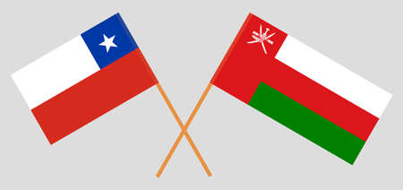 Crossed flags of Oman and Chile. Official colors. Correct proportion.  イラスト・ベクター素材