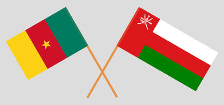 Crossed flags of Oman and Cameroon. Official colors. Correct proportion. 스톡 콘텐츠 - 152386405