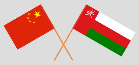 Crossed flags of Oman and China. Official colors. Correct proportion.