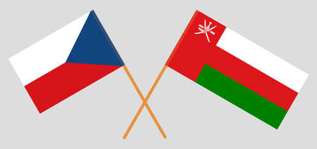 Crossed flags of Oman and Czech Republic. Official colors. Correct proportion. 스톡 콘텐츠 - 152386409