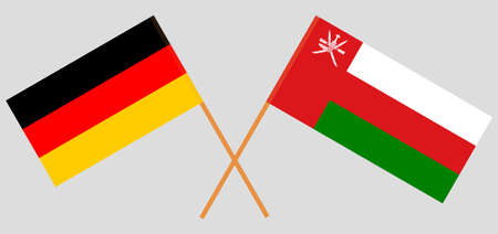 Crossed flags of Oman and Germany. Official colors. Correct proportion.