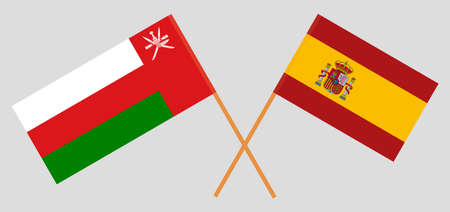 Crossed flags of Oman and Spain. Official colors. Correct proportion.  イラスト・ベクター素材