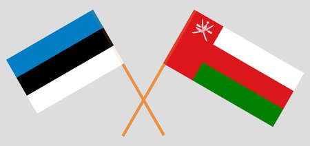 Crossed flags of Oman and Estonia. Official colors. Correct proportion.