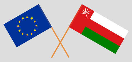 Crossed flags of Oman and the EU. Official colors. Correct proportion.