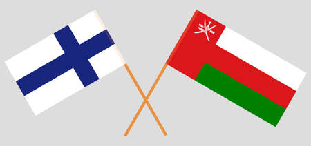 Crossed flags of Oman and Finland. Official colors. Correct proportion. 스톡 콘텐츠 - 152386112