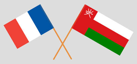 Crossed flags of Oman and France. Official colors. Correct proportion.  イラスト・ベクター素材