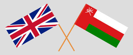 Crossed flags of Oman and the UK. Official colors. Correct proportion.  イラスト・ベクター素材