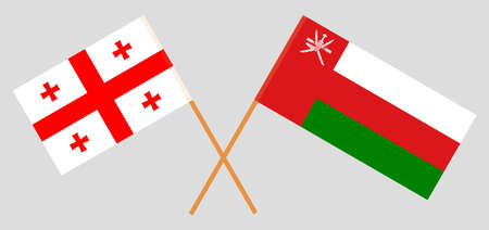 Crossed flags of Oman and Georgia. Official colors. Correct proportion.
