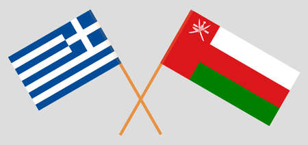 Crossed flags of Oman and Greece. Official colors. Correct proportion.  イラスト・ベクター素材