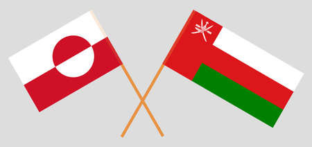 Crossed flags of Oman and Greenland. Official colors. Correct proportion.
