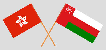 Crossed flags of Oman and Hong Kong. Official colors. Correct proportion.  イラスト・ベクター素材