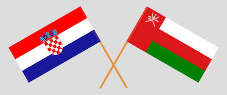 Crossed flags of Oman and Croatia. Official colors. Correct proportion.