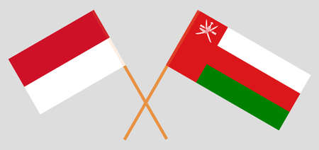 Crossed flags of Oman and Indonesia. Official colors. Correct proportion.