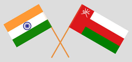 Crossed flags of Oman and India. Official colors. Correct proportion. 스톡 콘텐츠 - 152386114