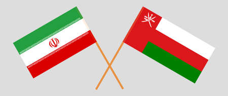 Crossed flags of Oman and Iran. Official colors. Correct proportion.